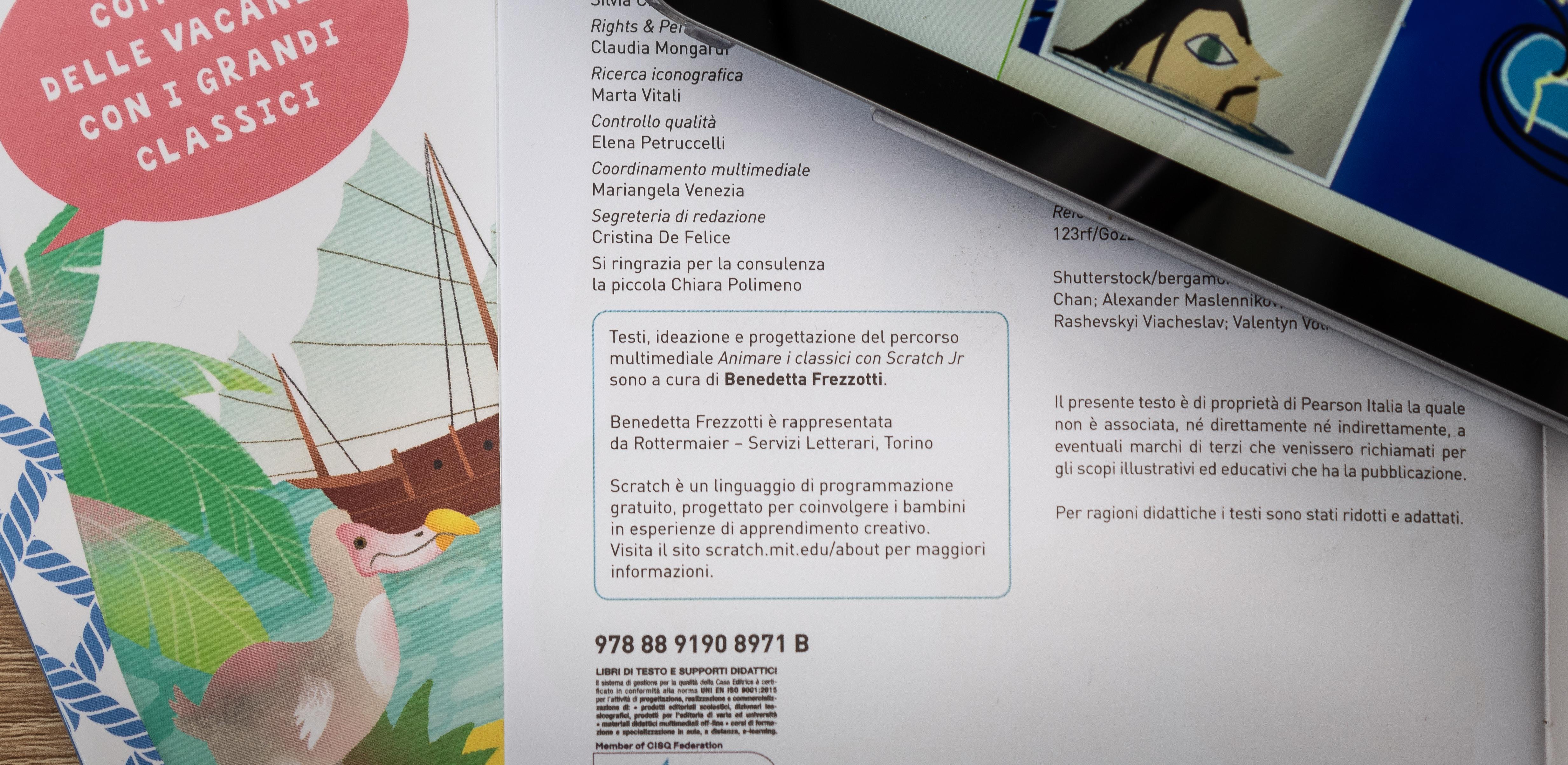 Immagini delle guide Animare i classici con Scratch JR di Benedetta Frezzotti per Edizioni Pearson